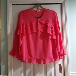 NWT coral flutter blouse